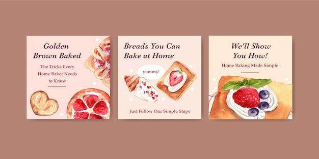 Рекламные шаблоны для продажи хлебобулочных изделий