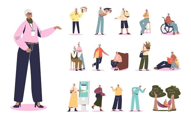 성인 아프리카 비즈니스 여성 라이프스타일 세트:성공적인 여성 만화 캐릭터는 야외에서 휴식을 취하고, 걷고, 스마트폰을 사용하고, 휠체어를 타고 아이들과 소통합니다. 평면 벡터 일러스트 레이 션