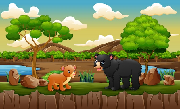 オープン動物園で大人のクマとクマの赤ちゃん