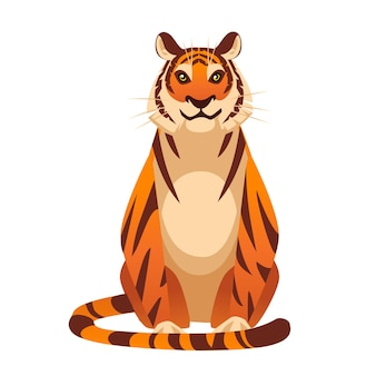 Adult big red tiger sit on ground wildlife and fauna theme cartoon animal design flat vector illustration isolated on white background front view.