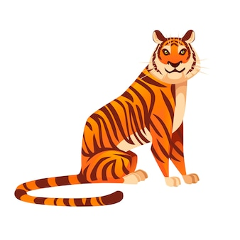 Adult big red tiger sit on ground wildlife and fauna theme cartoon animal design flat vector illustration isolated on white background.