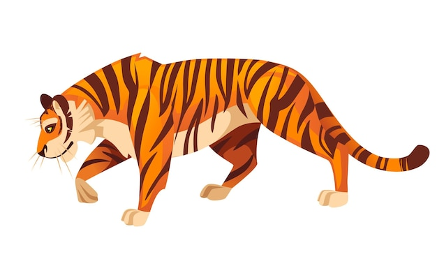 Adult big red tiger stand on ground wildlife and fauna theme cartoon animal design flat vector illustration isolated on white background