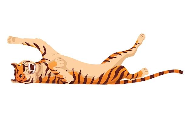 大人のビッグタイガー。野生動物からの怒っている動物。大きな猫。略奪的な哺乳類。描かれた漫画の動物のデザイン。白い背景で隔離のフラットベクトルイラスト