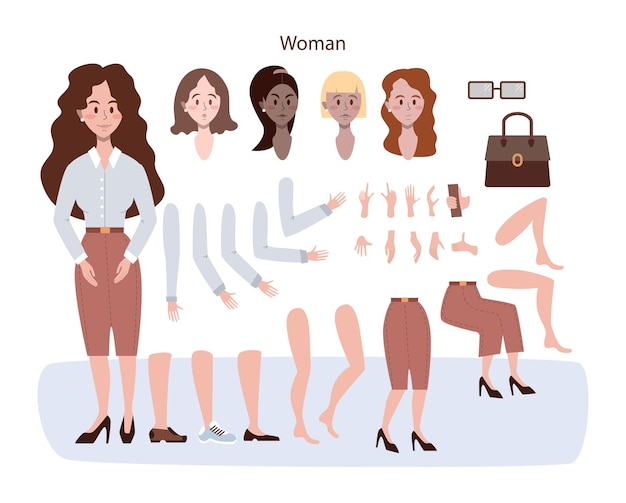 Adult character animation set. young woman with various views