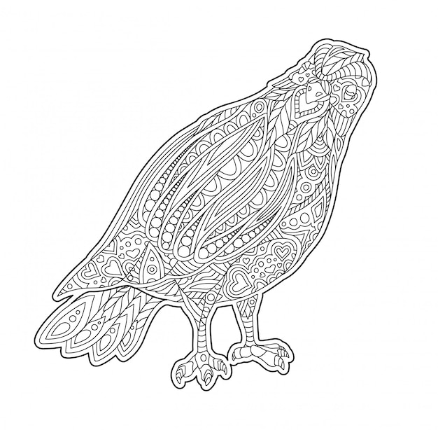 Adult coloring book page with decorative dove