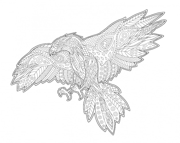 Adult coloring book page with decorative hawk