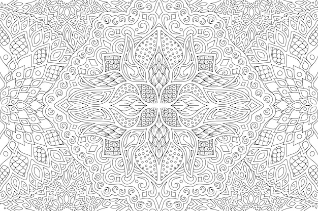 Adult coloring book page with linear seamless pattern