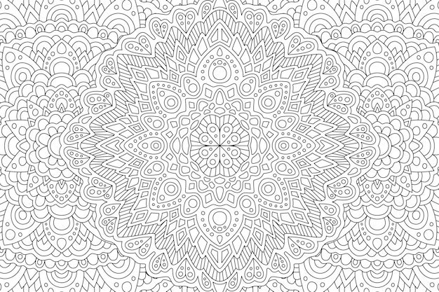 Adult coloring book page with monochrome eastern pattern