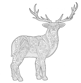 Adult coloring book page with stylized deer