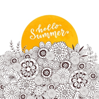 Adult coloring book page. zentangle art for design. hello summer hand drawn lettering