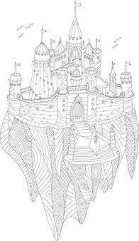 Adult coloring book with fantasy castle on a flying island