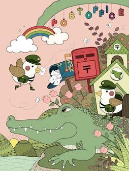 Раскраска для взрослых милый аллигатор с птичками почтальон