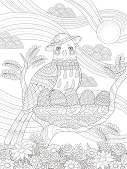 Adult coloring page lady bird with her eggs