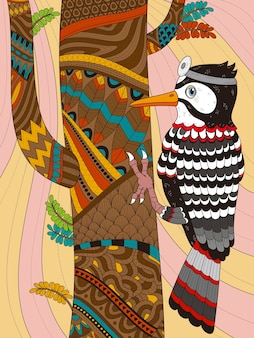 Adult coloring page woodpecker wears head mirror