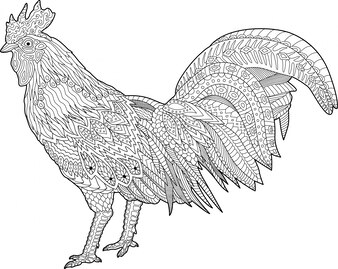 Adult detailed coloring book page with rooster on white background