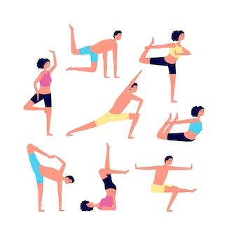 Взрослые занимаются спортом, люди фитнеса. позы для растяжки или пилатеса.