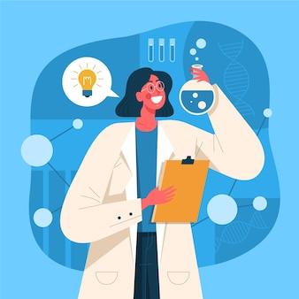 Adult female intelligent scientist illutration