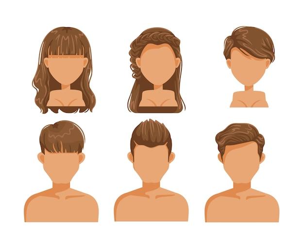 성인 헤어 스타일 세트. 남자와 여자 갈색 머리. 어린 소녀의 얼굴. 소녀 머리.