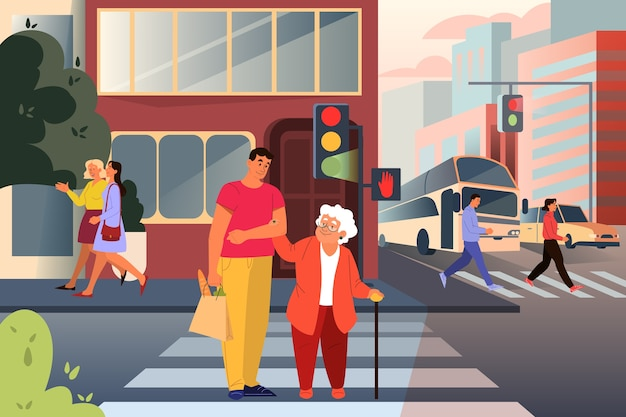 Adult male character helping old lady cross the street. man support old woman in city. help for retired people. idea of care and humanity.  illustration