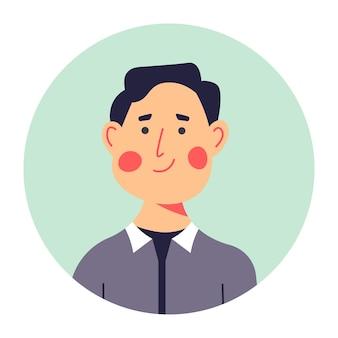 Взрослый мужской персонаж улыбается на портрете, округлом аватаре или фото для профиля в сми или резюме. веселый мужчина средних лет, уверенный в себе персонаж. брюнетка с румянцем на щеках, вектор в плоском стиле