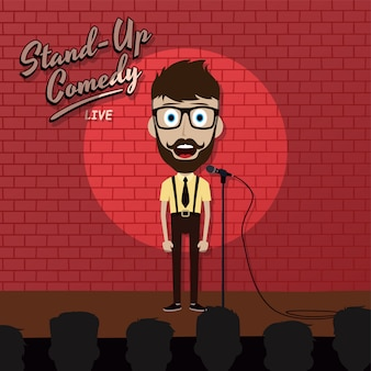 Adult male stand up comedian cartoon character