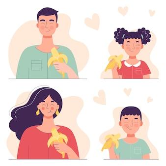 성인 남자와 여자는 바나나를 먹는다