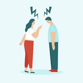 성인 남녀의 싸움. 가족 갈등, 분개, 침략, 이혼의 개념. 남편과 아내는 비명을 지르며 욕을 합니다. 고립 된 평면 벡터 일러스트 레이 션.