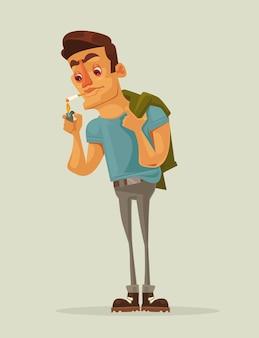 Персонаж взрослого человека зажигает сигарету