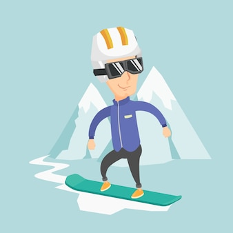 Adult man snowboarding vector illustration.