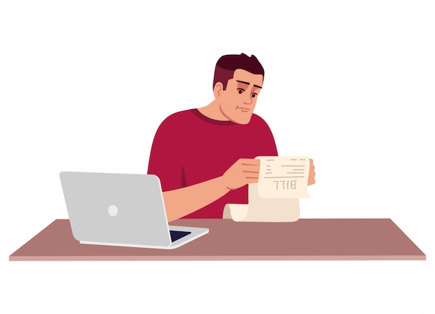 Adult man studying bill semi flat illustration