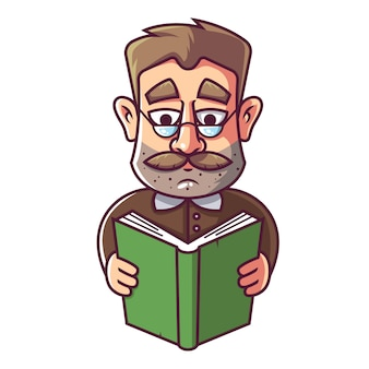 An adult man with glasses and a mustache is reading a book.
