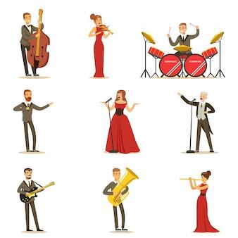 음악 홀에서 무대에서 음악 번호를 수행하는 성인 음악가와 가수 만화 캐릭터의 컬렉션