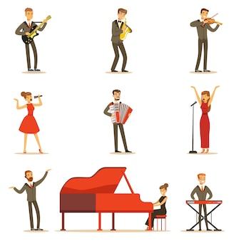 만화 캐릭터의 음악 홀 세트에서 무대에서 음악 번호를 수행하는 성인 음악가와 가수