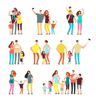 Adult parents couple playing with kids vector cartoon people isolated