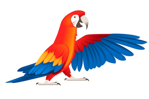 Adult parrot of red-and-green macaw ara standing on two legs and wave wing (ara chloropterus) cartoon bird design flat vector illustration isolated on white background.