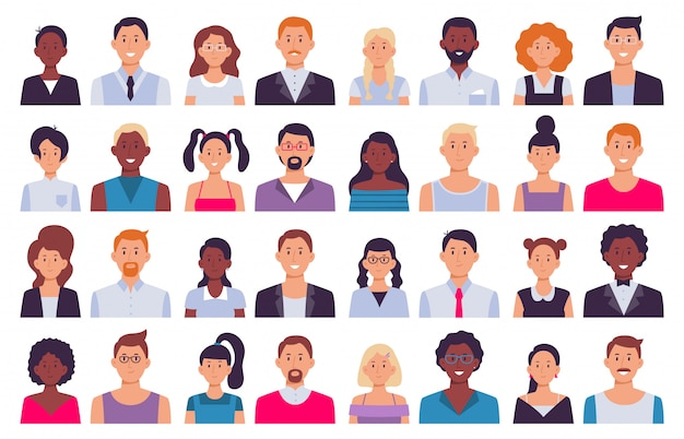 Adult people avatars. man in business suit, corporate woman avatar and professional person icon   illustration set