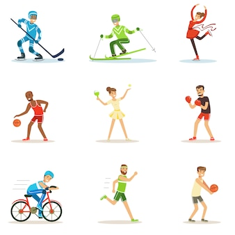 Adult people practicing different olympic sports series of cartoon characters