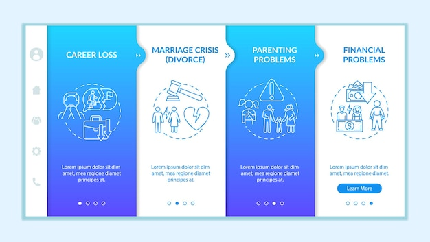 Adult problems onboarding vector template. responsive mobile website with icons. web page walkthrough 4 step screens. obstacles to adulthood becoming color concept with linear illustrations