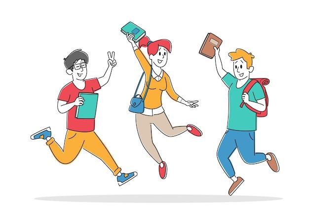Взрослые ученики-персонажи с рюкзаками радуются, прыгая в ряд с руками