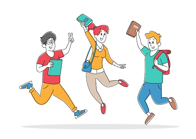Adult pupils characters with backpacks rejoice with hands up jumping in row