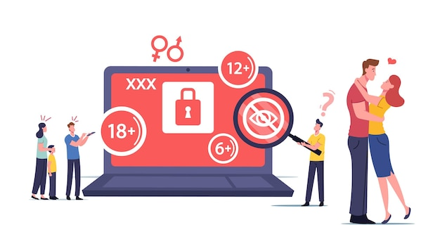 Adult sensitive content concept. tiny male female characters at huge laptop watching erotic video. mother cover eyes of her little son, age restriction, xxx movie. cartoon people vector illustration
