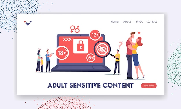 Adult sensitive content landing page template. tiny characters at huge laptop watching erotic video. mother cover eyes of her little son, age restriction, xxx movie. cartoon people vector illustration