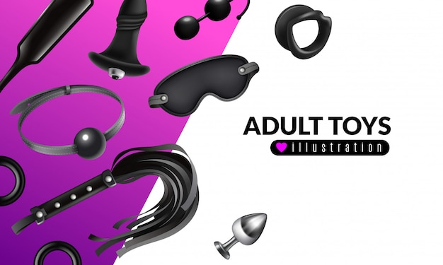 Adult toys illustration with fetish stuff for role playing and bdsm set realistic  illustration