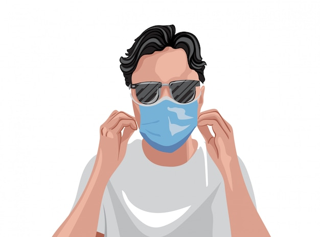 Adult in white t-shirt wearing protective medical mask and sunglasses