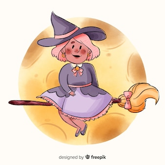 Adult witch standing on the broom