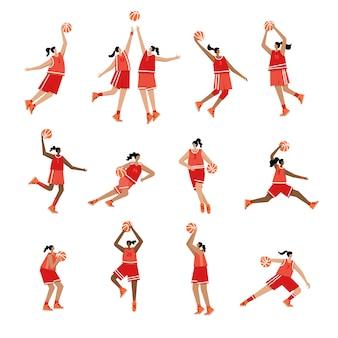 Взрослая женщина мультипликационный персонаж. баскетболист с мячом плоский вектор изолированных иллюстрация