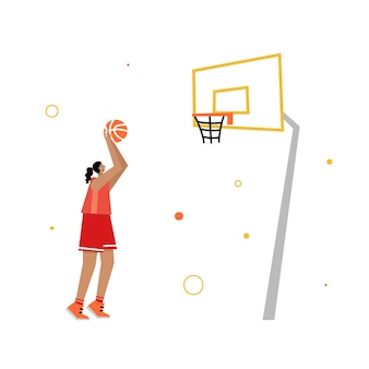 Adult woman cartoon action character. basketball player with ball flat vector isolated illustration