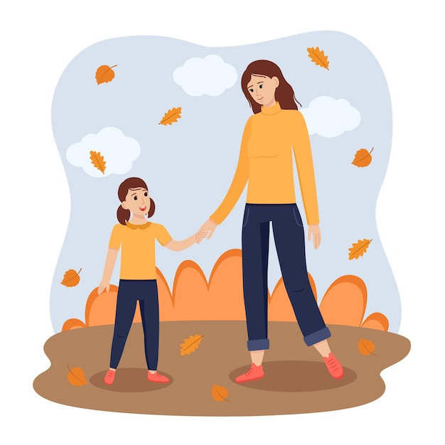 Adult woman and girl kid stand and hold hands in autumn park, vector illustration