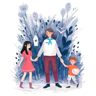 2人の子供男の子と女の子、家族、思いやりのある理解とハンドルのそばに立っている大人の女性