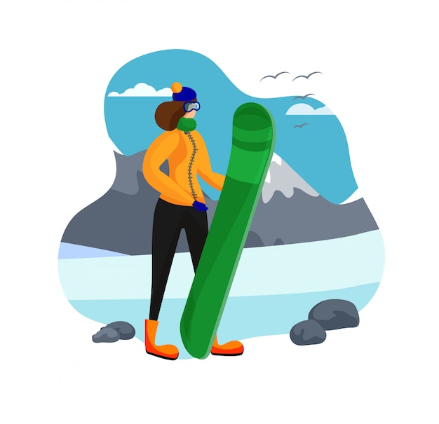 Adult woman in winter clothing holding snowboard